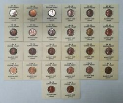 Lot Of 26 - 1943 - Copper Plated Steel Wheat Cents - Copper Plated Pennies - 1¢