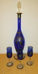 Antique Chinese Decanter Set With 3 Shot Glasses Blue W/ Silver Overlay Floral