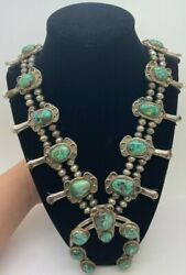 Vintage Native American Squash Blossom Turquoise Necklace