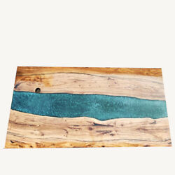 Green Resin River Furniture Living Garden Epoxy Wood Walnut Table Made To Order