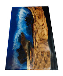 Natural Wooden Epoxy Dining Table Top Ocean River Bar Table Decor Made To Order