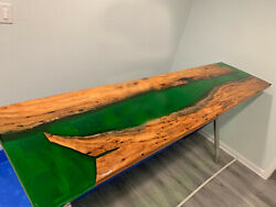 Green Resin Epoxy Wooden Acacia Dining Table Garden And Resort Decor Made To Order
