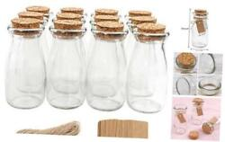 12pcs 4 X 2 Inches Small Glass Favor Jars Milk Glass Bottles With Cork Lids