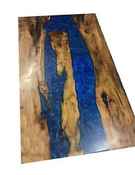 Epoxy Blue Resin River Wooden Acacia Dining Table Top Furniture Made To Order