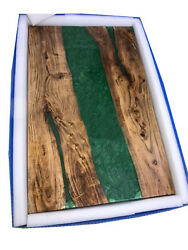 Green Resin Wooden Acacia Table Diningliving Room Epoxy Furniture Made To Order