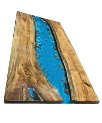 Wooden Acacia Table Blue Epoxy Dining Table Top Furniture Decors Made To Order