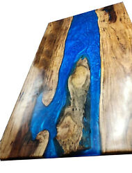 Blue Resin Center Dining Top Epoxy Wooden Acacia Table Living Room Made To Order