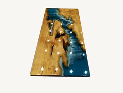 Blue Top Wooden Acacia Resort Decor Custom Epoxy Table Furniture Made To Order