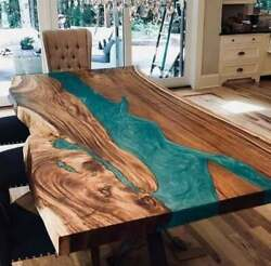 Wooden Acacia Custom Green Dining Room Decorative Epoxy Table Top Made To Order