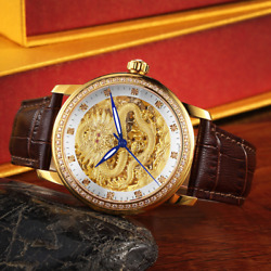 Multi-function Waterproof Gold Automatic Hollow Belt Couples Mechanical Watches