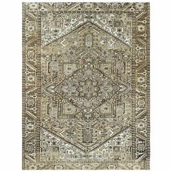9and0392x12and0393 Beige Vintage Worn Down Farsian Heris Wool Hand Knotted Rug R61261