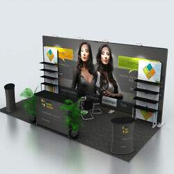 20ft Trade Show Display Booth Sets Back Wall With Lights Counter Product Shelves
