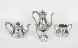 Antique Victorian Silver Plated Four Piece Tea And Coffee Set 19th C