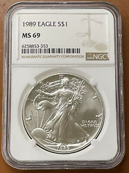 1989 American Silver Eagle Ngc Ms69 Ms-69 1 Troy Oz Coin Tcccx