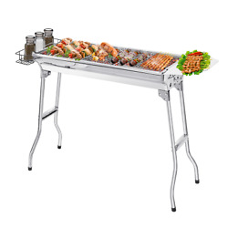 Portable Stainless Steel Bbq Charcoal Grill Mesh Rack Grid Grate Camping Cooking
