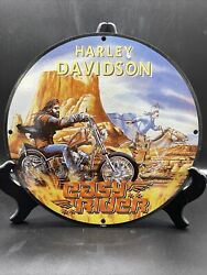 1969 Vintage And039and039harley Davidsonand039and039 Motorcycle Porcelain Pump Plate 12 Inch