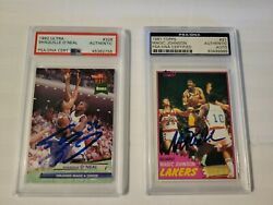 1981 Magic Johnson Signed Rc Psa And 1992 Shaquille O'neal Signed Rc Psa