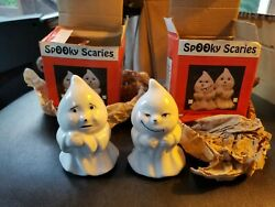 Vintage 1992 Price Spooky Scaries Hand Painted Porcelain Ghost Figurines Nos