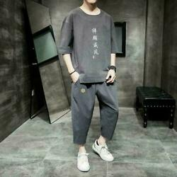 Menand039s Embroidery Chinese Suit T Shirts Pants Set Cotton Linen Casual Shorts Tops