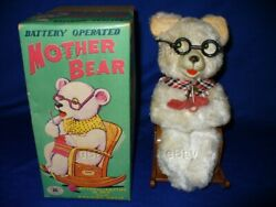 Vintage Nos Mother Bear Battery Operated Tin Toy Boxed Modern Toys Japan Works