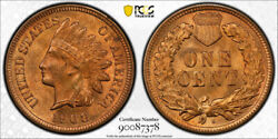 1908 S 1c Indian Head Cent Pcgs Ms 64 Rd Uncirculated Full Red Key Date Tough