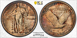 1920 25c Standing Liberty Quarter Pcgs Ms 65 Fh Uncirculated Full Head Toned
