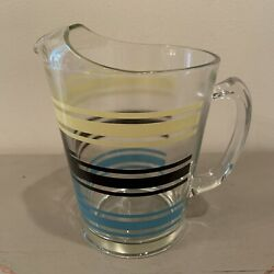Vintage Libbey Striped Mid-century Colored Striped Glass Pitcher