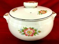 Halls Kitchenware Rose White 658 Covered Soup Casserole Bowl