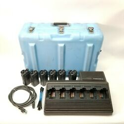 6x Motorola Ht750 Uhf 2-way Radios And Htn9005c Charger Bundle W/batteries And Case