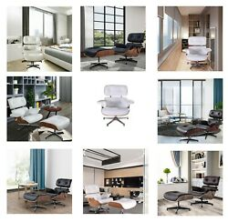 Genuine Leather Lounge Chair And Ottoman Black White Walnut Palisanderrosewood