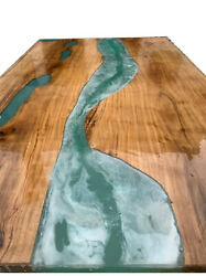 Green Epoxy Table Wooden Walunt Living Dining Furniture Decorative Made To Order