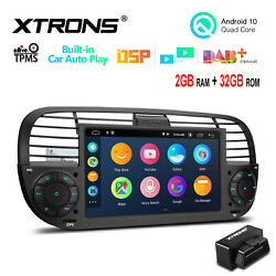 Obd+ 7 Android 10 4-core 2+32gb Car Stereo Radio Gps Dsp For Fiat 500 2007-2015