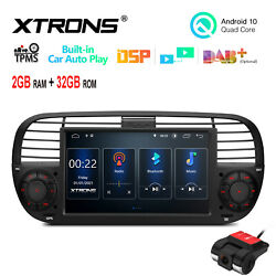 Dvr+ 7 Android 10 4-core 2+32gb Car Stereo Radio Gps Dsp For Fiat 500 2007-2015