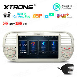 Cam+ 7 Android 10 32g Car Gps Stereo Radio Head Unit For Fiat 500 2007-15 Beige