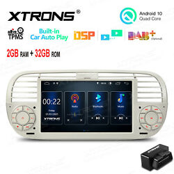 Obd+ 7 Android 10 32g Car Gps Stereo Radio Head Unit For Fiat 500 2007-15 Beige
