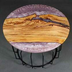 Round Decorative Epoxy Table Furniture Resin Epoxy Wooden Walnut Made To Order