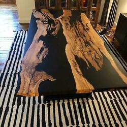 Black Custom Order Dining Decor Epoxy Table Resin Wooden Acacia Made To Order