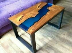Blue Epoxy Table Wooden Acacia Living Dining Furniture Decorative Made To Order