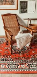 Vintage Colonial Plantation Style Recliner Caned Wooden Chair