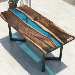Blue Furniture Dining Resin Wooden Walnut Decorative Epoxy Table Made To Order