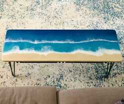 Blue Epoxy Ocean River Resin Dining Table Top Handmade Furniture Made To Order