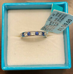 Effy - Royale Bleu -sapphire And Diamond Channel Ring In 14k White Gold - Nwt