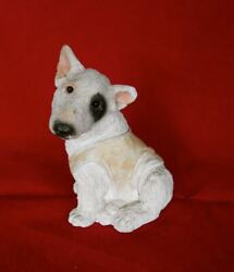 Vintage Stone Resin Bull Terrier Puppy HEARTWARMING Figurine Dog 4quot; H