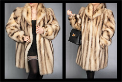 Real German Sable Fur Coat Luxurious Gold Fitch Mink - Size Xl Free Gifts