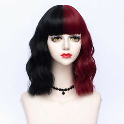35CM Lolita Black Mix Wine Red Ombre Half Bangs Synthetic Halloween Cosplay Wig