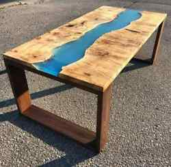 Blue Epoxy Furniture Dining/coffee Table Wooden Walnut Decorative Made To Order