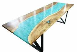 Luxury Epoxy Table Top Furniture Dining Wooden Acacia Decorative Made To Order