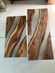 Transparent Epoxy Table Top Decorative Dining Table Wooden Acacia Made To Order