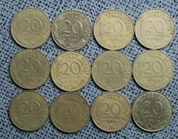 France 12 X 20 Centimes All Different 1963-1997 23.5mm Pre Euro