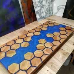 Honeycombs Wooden Acacia Table Dining Table Top Epoxy Resin Decor Made To Order